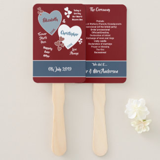 Deep Red and Blue Wedding Hand Fan