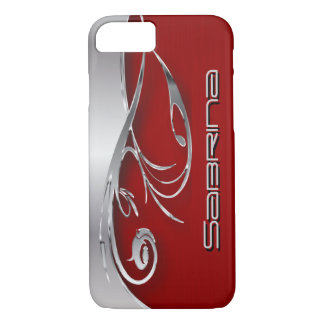 Deep Red and Elegant Silver Metal Print iPhone 7 Case