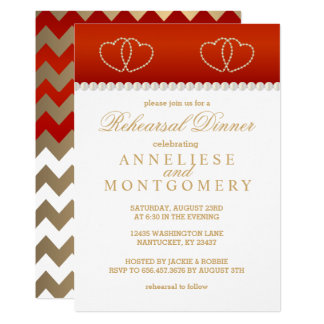 Deep Red and Gold Hearts - Rehearsal Dinner Card