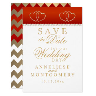 Deep Red and Gold Hearts - Save the Date Card