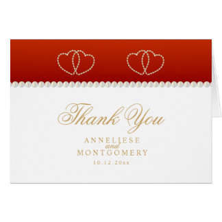 Deep Red and Gold Hearts - Thank You Card