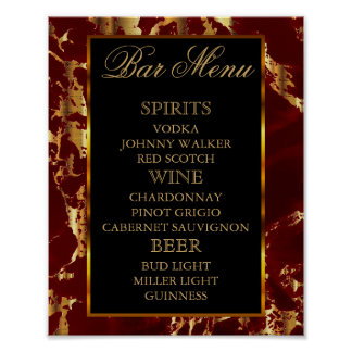 Deep Red and Gold Marble and Black - Bar Menu Poster