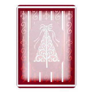 "Deep Red And White Swirls Stripes Christmas Tree 5"" X 7"" Invitation Card"