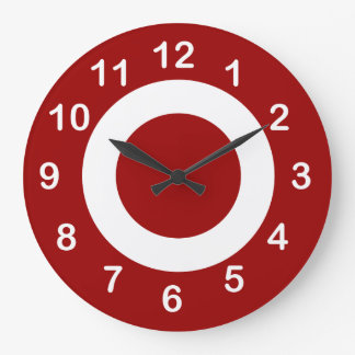Deep Red and White Target-Circles Large Clock