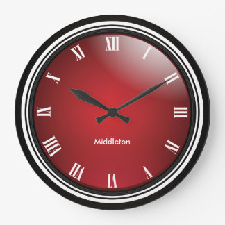 Deep Red, Black & White with Roman Numbers Large Clock