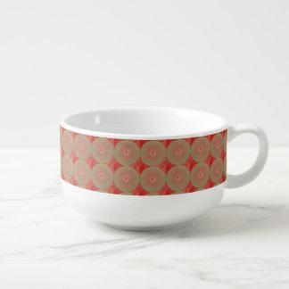 Deep Red Circled Brown Soup Mug