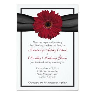Deep Red Daisy Black Ribbon Wedding Invitation