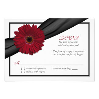Deep Red Daisy Black Ribbon Wedding Reply Card Personalized Invite