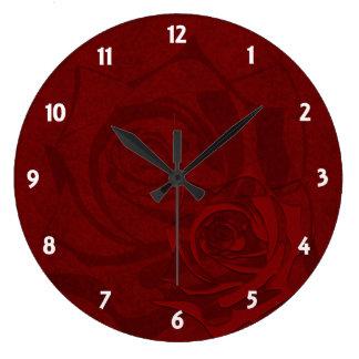Deep Red Damask Large Clock