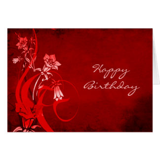 Deep Red Floral Happy Birthday Card
