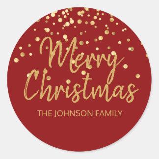 Deep RED Gold Glitter Confetti Merry Christmas Classic Round Sticker