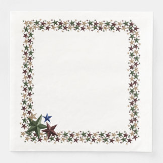 Deep Red Green Blue and Soft Gold Stars Paper Dinner Napkin