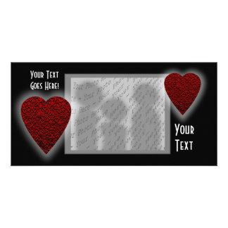 Deep Red Heart. Patterned Heart Design. Picture Card