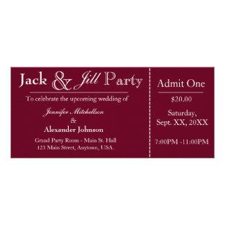 Deep Red Jack and Jill Shower Ticket Invitation