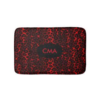 Deep Red Leopard Monogram Pattern Bathroom Mat