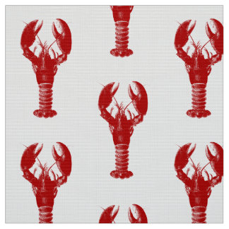 Deep Red Lobster on White Fabric