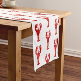 Deep Red Lobster on White Short Table Runner