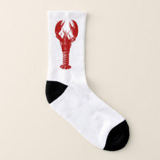 Deep Red Lobster on White Socks
