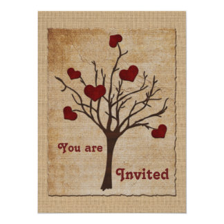 Deep Red Love Valentine Hearts Fruit Tree Card