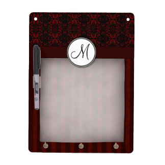 Deep Red on Black Damask and Stripes with Monogram Dry Erase Board