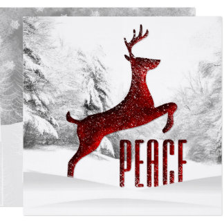 Deep Red Peace Leaping Reindeer Winter Woodland Card