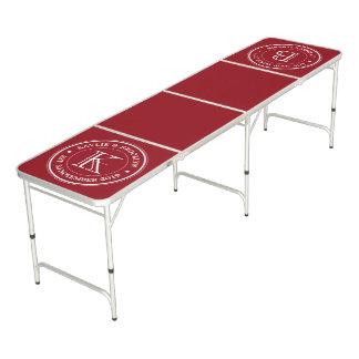 Deep Red Plain Color Simple Logo Monogram Beer Pong Table