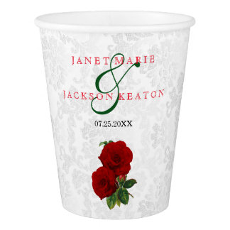Deep Red Rose Floral Wedding Paper Cup