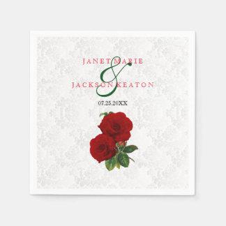 Deep Red Rose Floral Wedding Paper Napkin