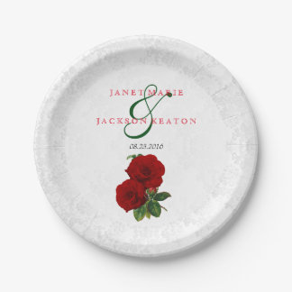 Deep Red Rose Floral Wedding Paper Plate