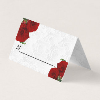 Deep Red Rose Floral Wedding Place Card