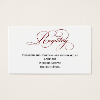 Deep Red Script Wedding Registry Information Card