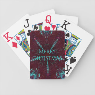 Deep Red Turquoise Merry Christmas Kaleidoscope Bicycle Playing Cards