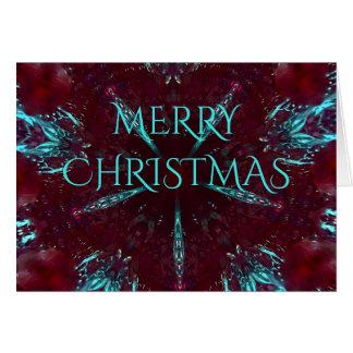 Deep Red Turquoise Merry Christmas Kaleidoscope Card