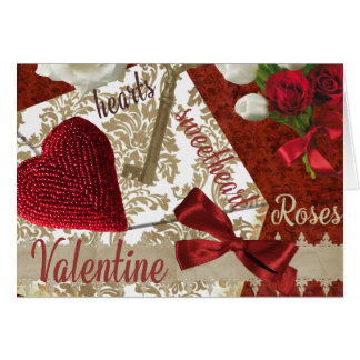 Deep Red Valentine Roses Gold Key and Heart Card