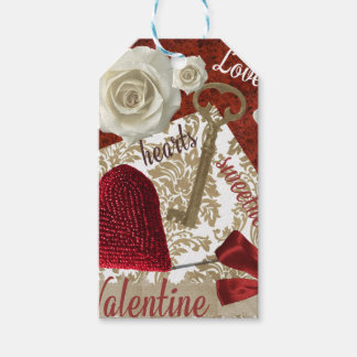 Deep Red Valentine Roses Gold Key and Heart Gift Tags