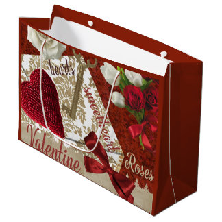 Deep Red Valentine Roses Gold Key and Heart Large Gift Bag