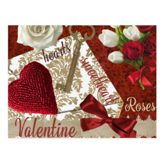 Deep Red Valentine Roses Gold Key and Heart Postcard