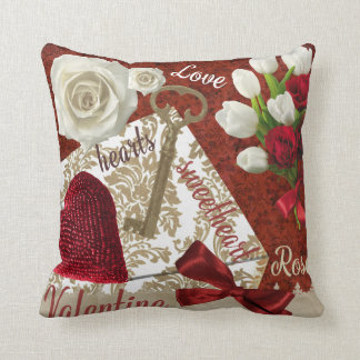 Deep Red Valentine Roses Gold Key and Heart Throw Pillow