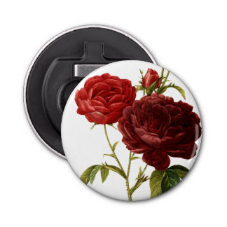 Deep red vintage roses painting button bottle opener
