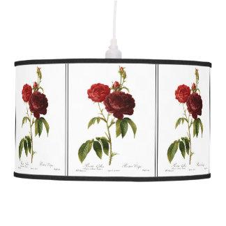 Deep red vintage roses painting ceiling lamp