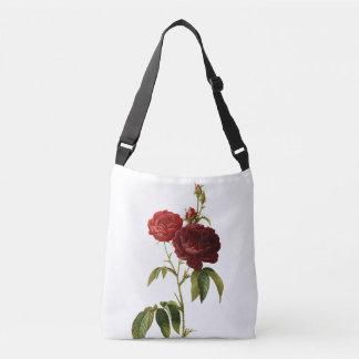 Deep red vintage roses painting crossbody bag