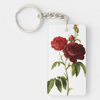 Deep red vintage roses painting Double-Sided rectangular acrylic keychain
