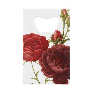 Deep red vintage roses painting wallet bottle opener
