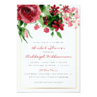 Deep Red Watercolor Rose Bridal Shower Card