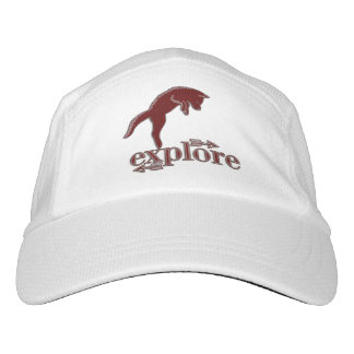 Deep Red Woodland Fox with Explore Word Art Hat