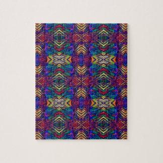 Deep Rich Fall Blues Purple Tribal Pattern Jigsaw Puzzle