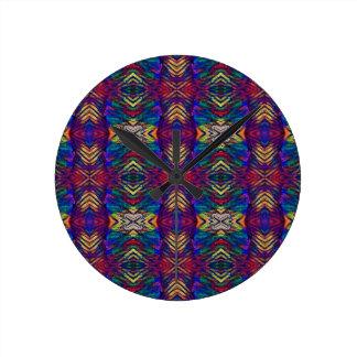 Deep Rich Fall Blues Purple Tribal Pattern Round Clock