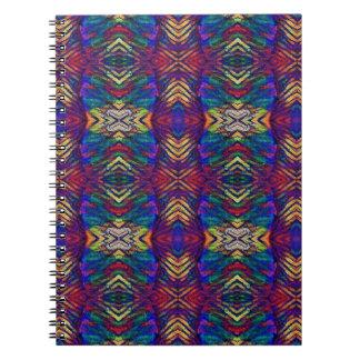 Deep Rich Fall Blues Purple Tribal Pattern Spiral Notebook