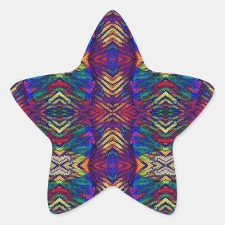 Deep Rich Fall Blues Purple Tribal Pattern Star Sticker