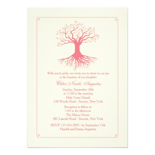 Deep Rooted Pink Baptism Invitation